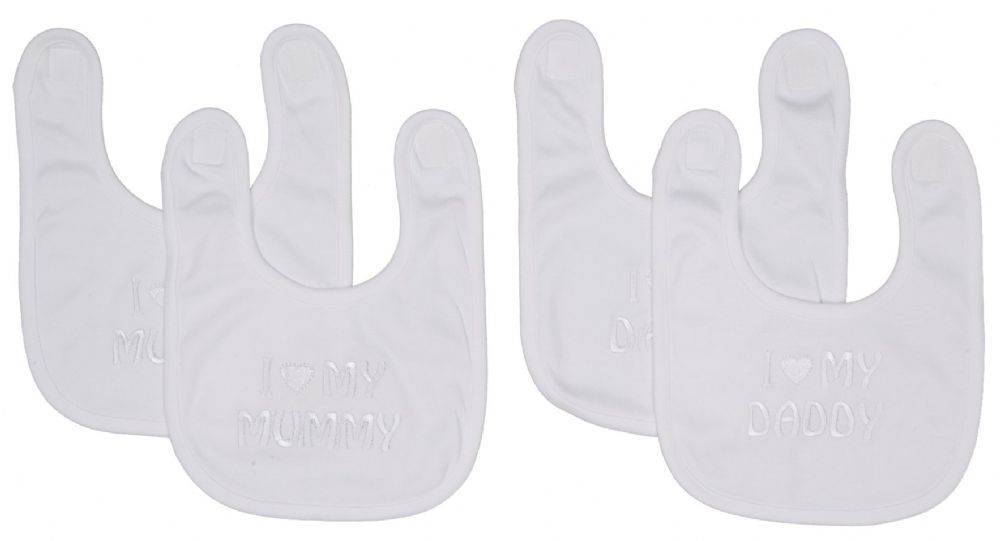 DAN 2002 set of 2 slogan baby bibs White